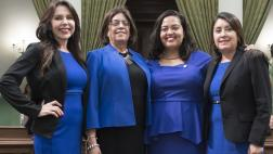 Assemblywoman Rubio standing with Assemblymembers Aguiar-Curry, Carrillo, and Rivas all wearing blue outfits